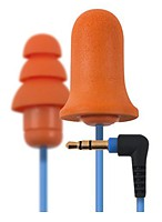 Plugfones Contractor Orange Silicone and Foam Hearing Protection - Ear Plug Earbuds Headphones