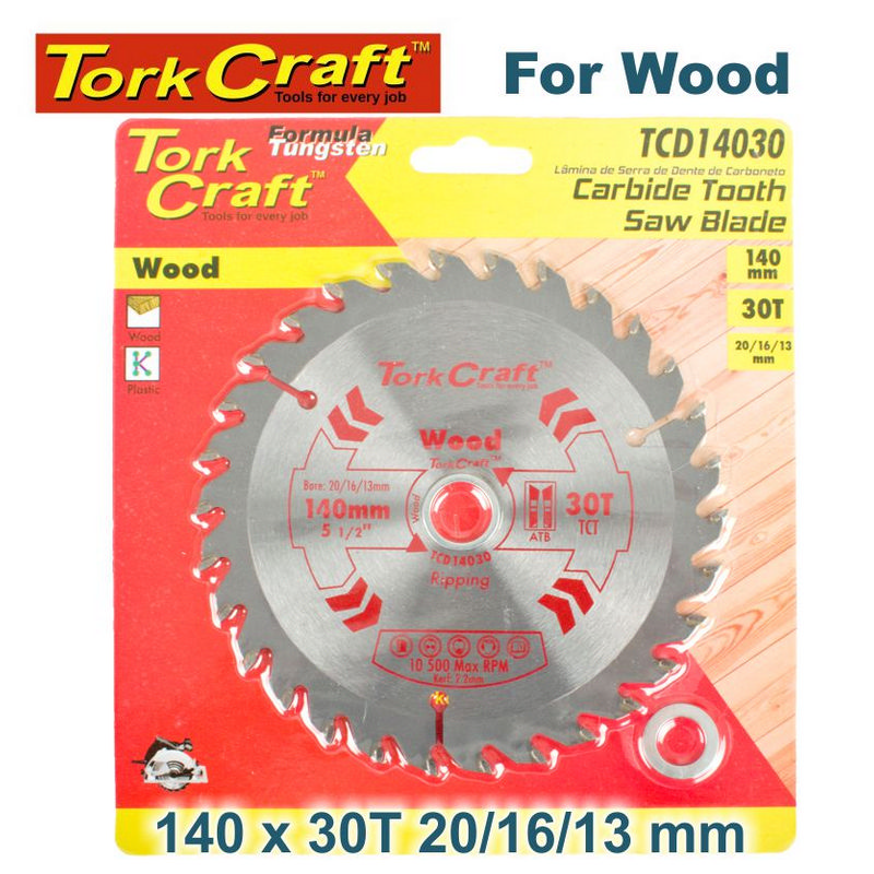 Tork Craft Blade Tct 140 X 30t 20/16/13 General Purpose Combination Wood