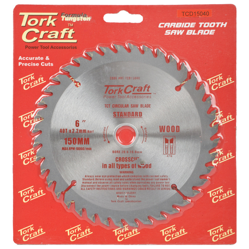 Tork Craft Blade Tct 150 X 40t 20/16 General Purpose Combination Wood