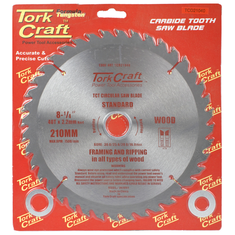 Tork Craft Blade Tct 210 X 40t 30/1/20/16 General Purpose Combination