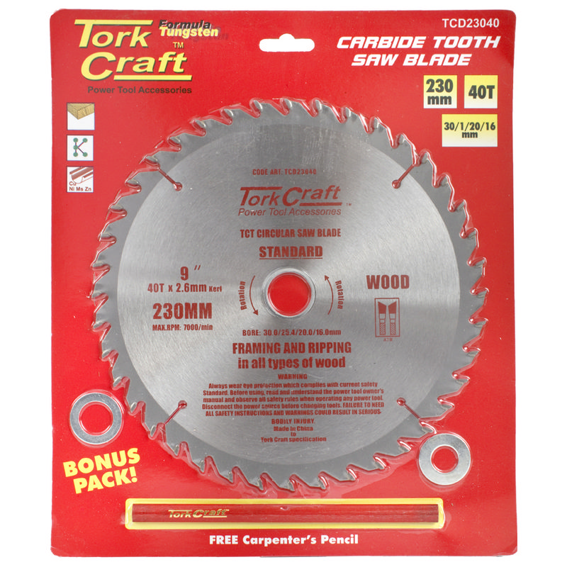 Tork Craft Blade Tct 230 X 40t30/1/20/16 General Purpose Combination