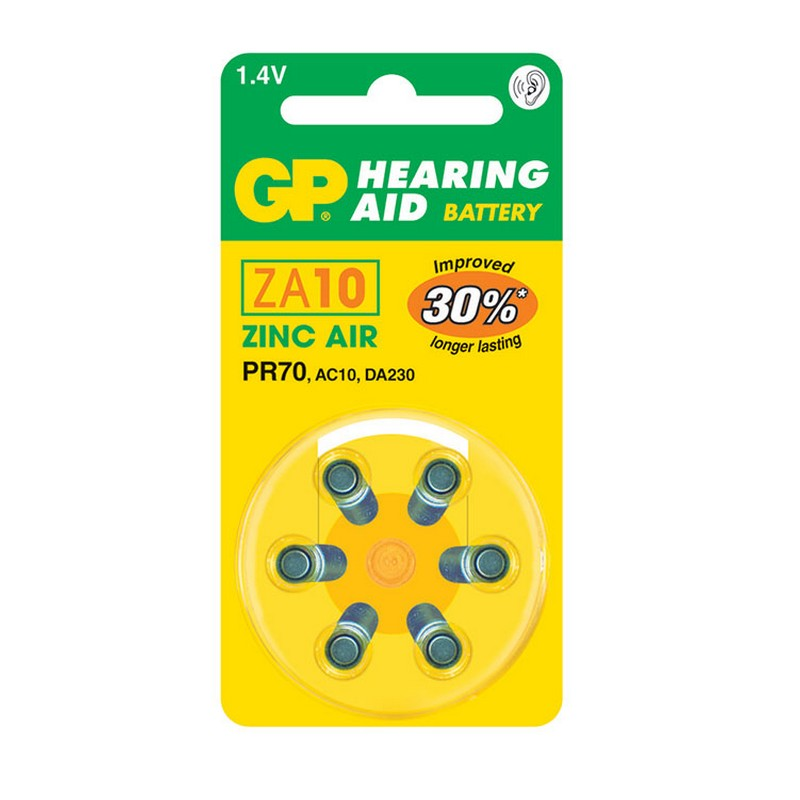GP ZA10 Zinc Air Hearing Aid Battery 6 Pack